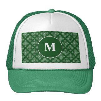 Damask pattern on dark green hat