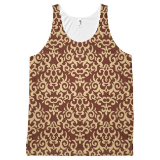 Damask pattern on gradient background All-Over print tank top
