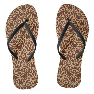 Damask pattern on gradient background flip flops
