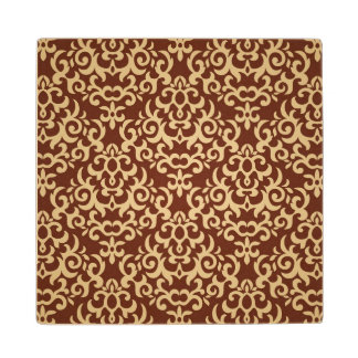 Damask pattern on gradient background wood coaster