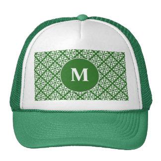 Damask Pattern on Green Trucker Hats