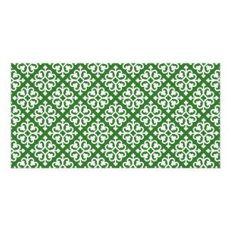 Damask pattern on Green Photo Card