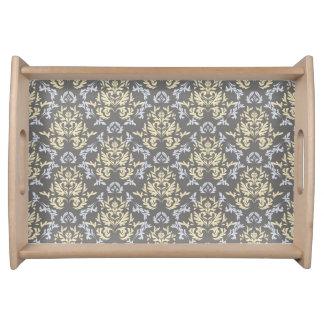 Damask pattern serving tray