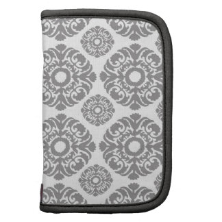 damask pattern silver gray organizer
