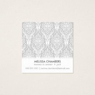 DAMASK PATTERN simple modern vintage mommy contact Square Business Card