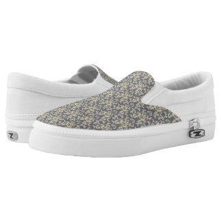 Damask pattern slip on shoes