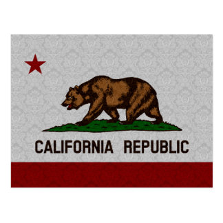 Damask Pattern State Flag of California Republic Postcard