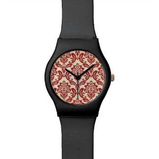 Damask pattern wallpaper wrist watch