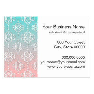 Damask Pattern White over Pink blended to Teal Pack Of Chubby Business Cards