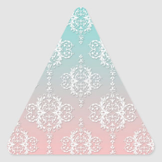 Damask Pattern White over Pink blended to Teal Triangle Sticker