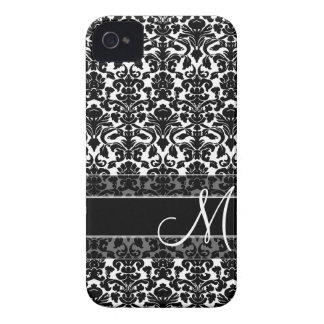 Damask Pattern with Monogram iPhone 4 Case