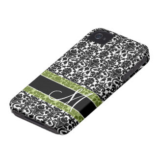 Damask Pattern with Monogram iPhone 4 Cases