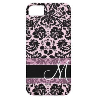 Damask Pattern with Monogram iPhone 5 Cases