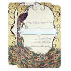 Damask Peacock Elegance Eggplant Gold and Aqua Card