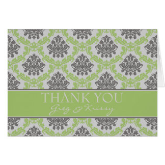 Damask Pear Lime Green Thank You Note Cards