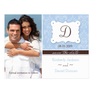 Damask Photo Save the Date Postcard