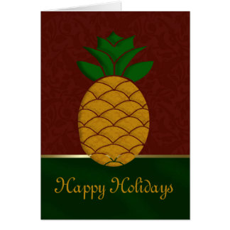 Damask Pineapple Holiday Card