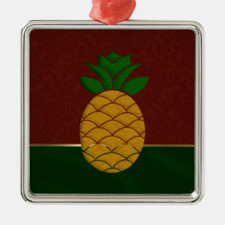 Damask Pineapple Holiday Ornament