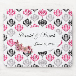 Damask pink and black mouse pad