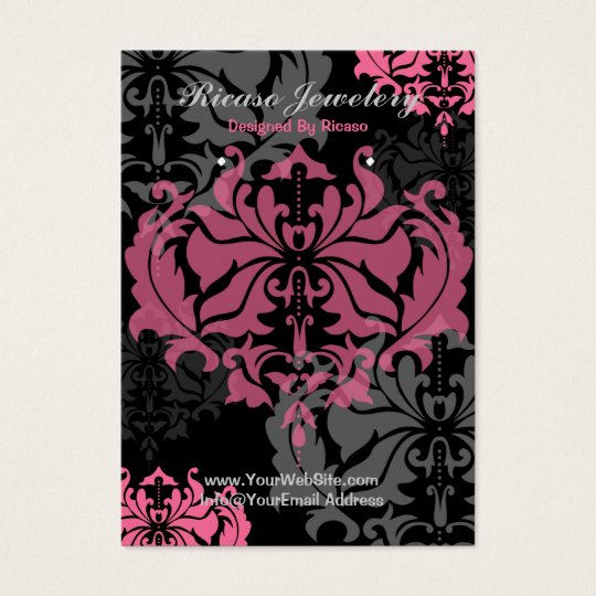 Damask Pink And Grey Earring Background Business Card