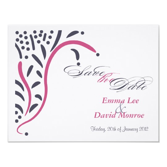 Damask Pink and Navy Meadow Save the date