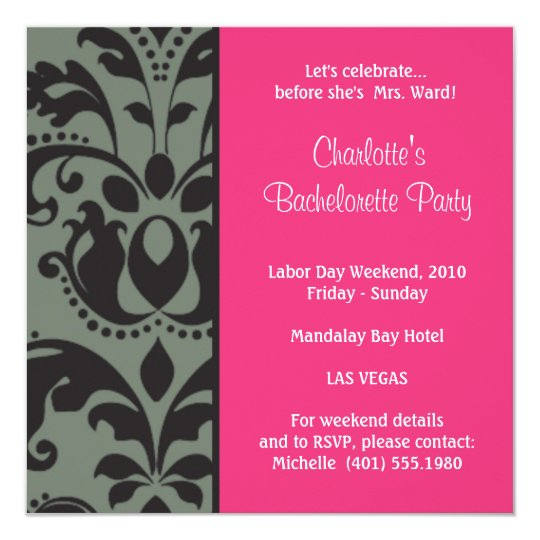 damask pink; bachelorette card