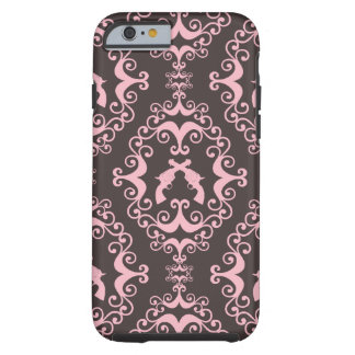 Damask pink black guns grunge western pistols chic tough iPhone 6 case