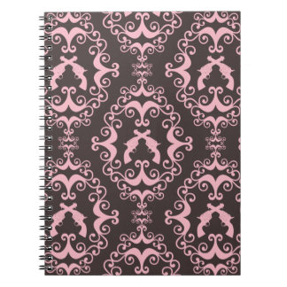 Damask pink black guns grunge western pistols chic notebooks