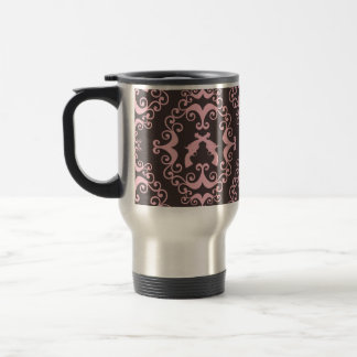 Damask pink black guns grunge western pistols chic travel mug