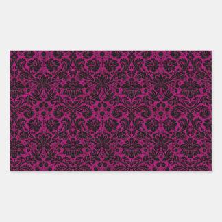 Damask Pink Black Rectangular Sticker