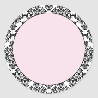 Damask Pink Classic Round Sticker