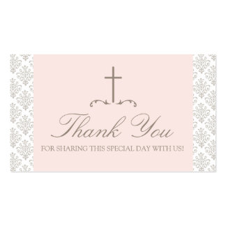 Damask Pink & Cream with Cross FAVOR CARD Business Cards