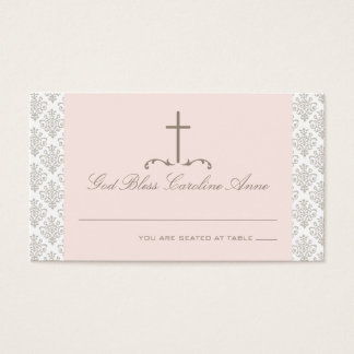 Damask Pink & Cream with Cross Seating Card