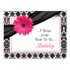Damask Pink Gerber Daisy Recipe Card for the Bride