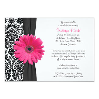 Damask Pink Gerbera Daisy Recipe Bridal Shower 13 Cm X 18 Cm Invitation Card