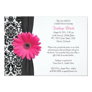 Damask Pink Gerbera Daisy Recipe Bridal Shower Card