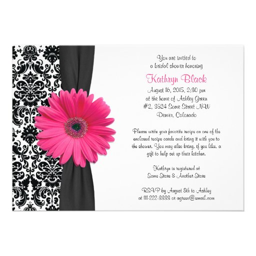 Damask Pink Gerbera Daisy Recipe Bridal Shower Custom Announcements