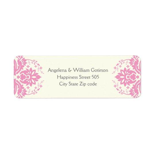 Damask pink, grey, ivory wedding return address label