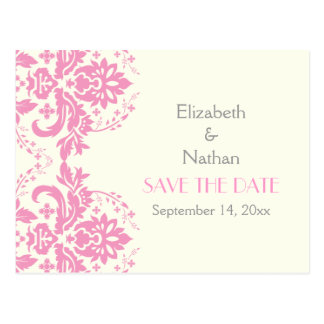 Damask pink, grey, ivory wedding Save the Date Postcard