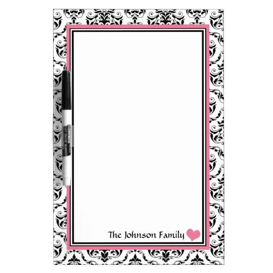 Damask Pink Personalised Dry-Erase Board