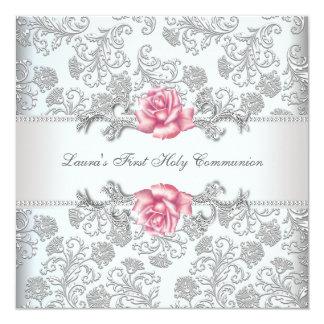 Damask Pink Rose Girls First Communion 13 Cm X 13 Cm Square Invitation Card