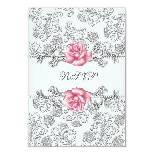 Damask Pink Rose Girls First Communion RSVP Card