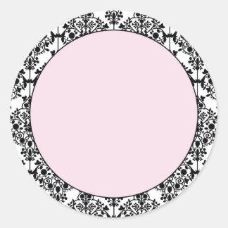 Damask Pink Round Sticker