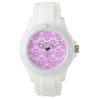 Damask pink white wrist watch