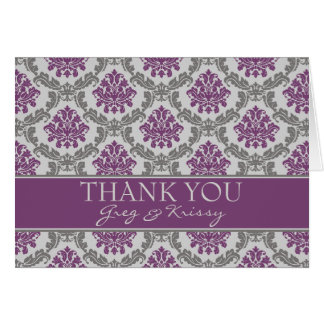 Damask Plum Eggplant Thank You Note Cards