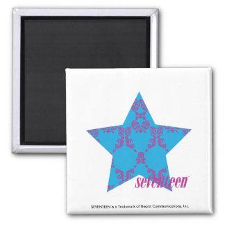 Damask Purple-Aqua 2 Square Magnet