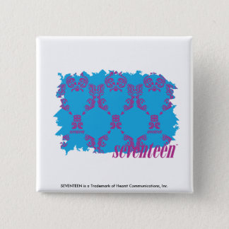 Damask Purple-Aqua 4 15 Cm Square Badge