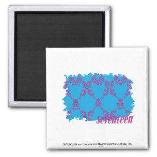 Damask Purple-Aqua 4 Square Magnet