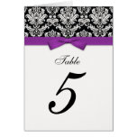 Damask Purple Bow Table Seating Number Greeting Card