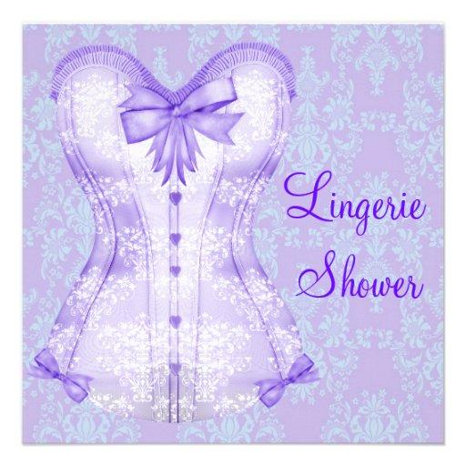 Damask Purple Corset Lingerie Bridal Shower